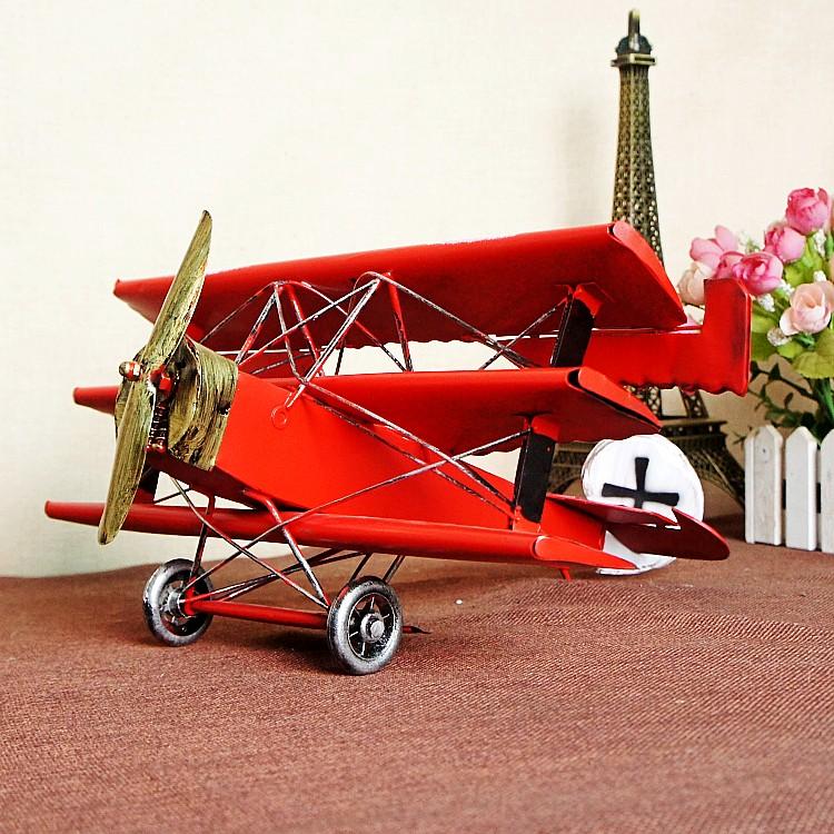 腾彩彩绘三翼铁皮飞机模型红男爵战斗机 创意礼 复古怀旧家居送男友
