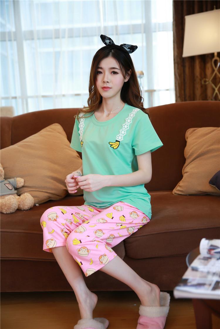 席尔顿夏季卡通可爱猴子香蕉短袖七分裤睡衣 韩版家居