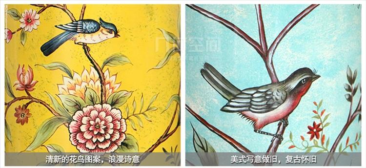 美式乡村花鸟壁纸贴图