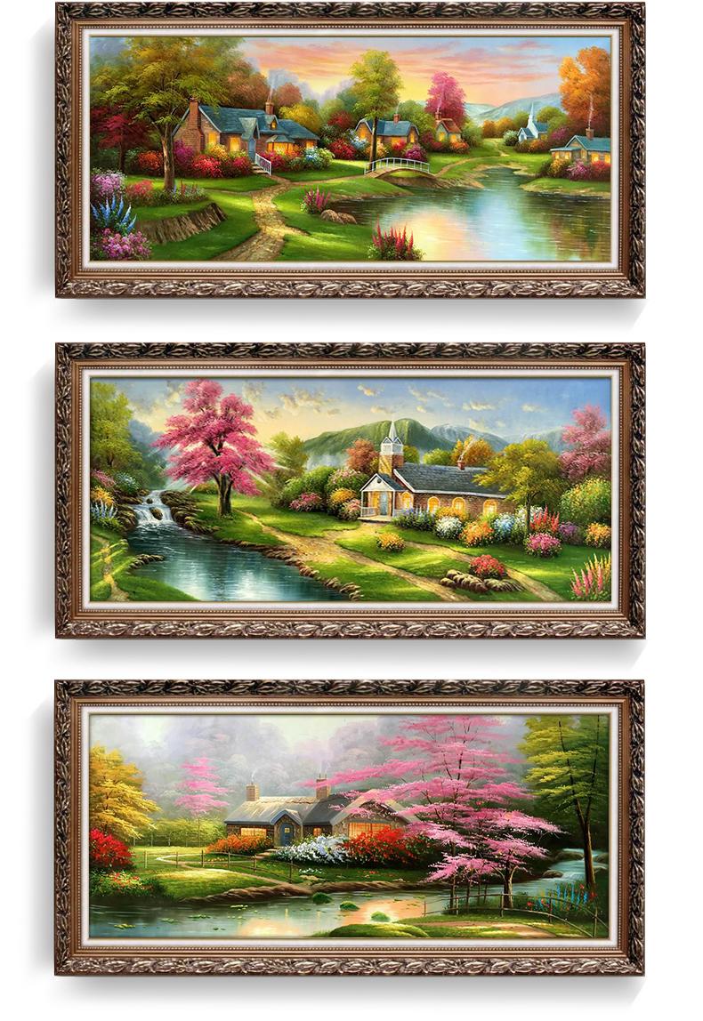 欧式客厅油画美式风景壁画简欧别墅卧室餐厅装饰画沙发背景墙挂画 19图片