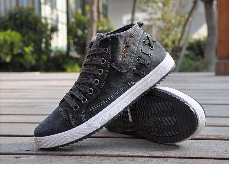 男士帆布鞋运动休闲鞋高帮男鞋子学生潮鞋板鞋老北京布鞋 xm2018黑色图片