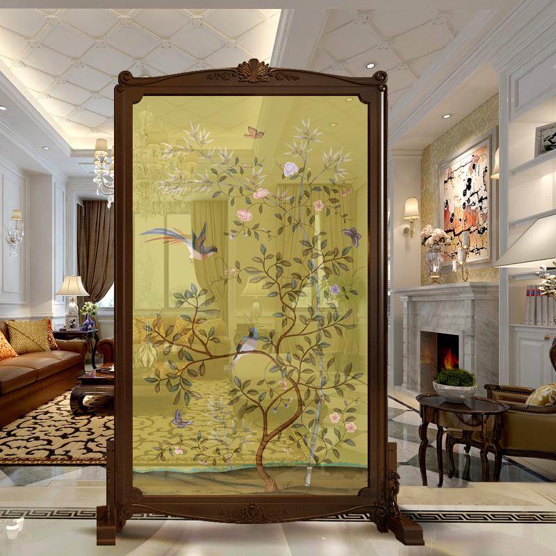 私人定制屏风 欧式美式雕花隔断 客厅玄关酒店办公隔断帘 实木半透明图片