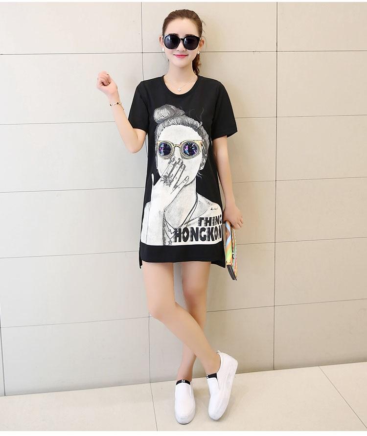 吉禾伊嘉2016夏季短袖夏季韩版休闲美女头像宽松显瘦
