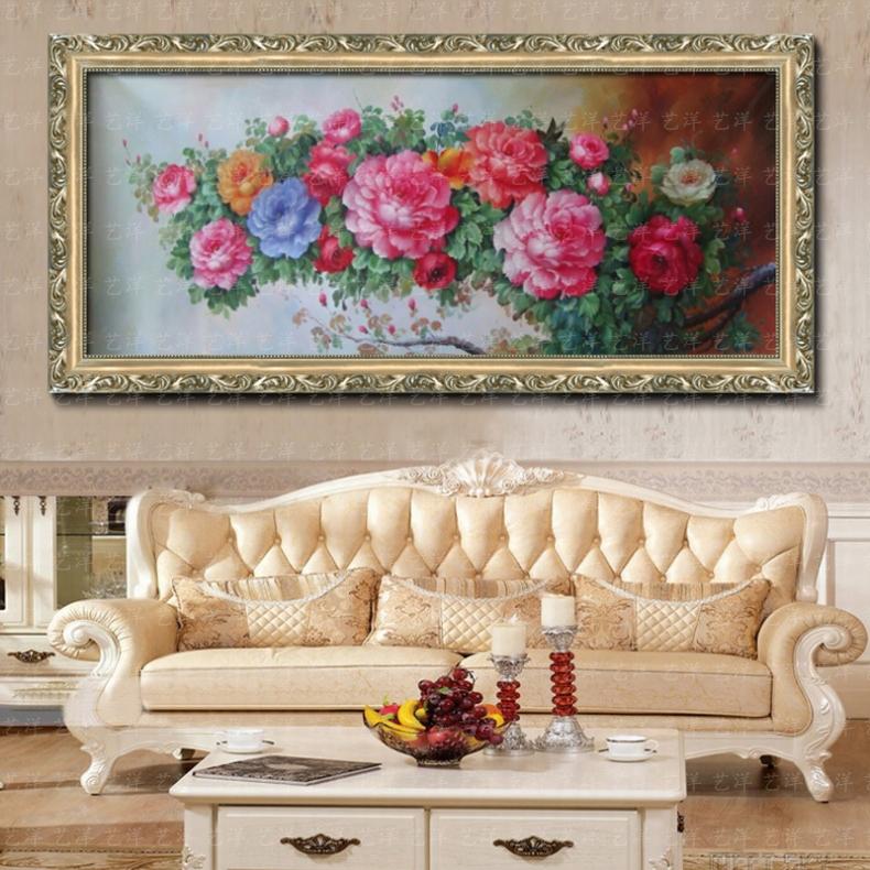 手绘油画纯手绘油画客厅牡丹花开富贵有框卧室玄关横幅花卉装饰画 88