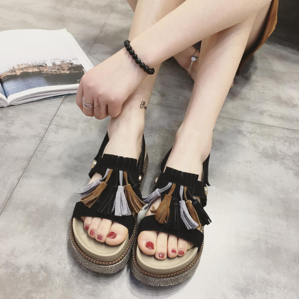 皮奥·库迪2016夏季新款韩版软底文艺平底鞋女凉鞋复古森女系凉拖鞋