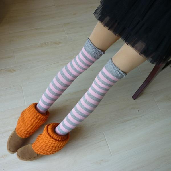海军风时尚条纹长筒袜 过膝袜 精梳棉高统袜 糖果色打底袜子 蓝白条