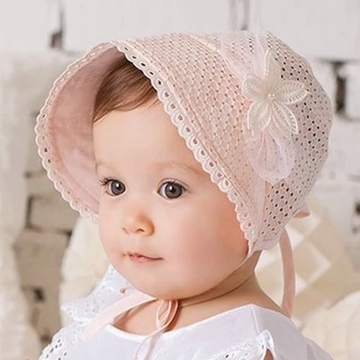 韩版宝宝夏透气小花宫廷帽子婴儿帽儿童夏凉帽短檐太阳帽遮阳童帽 h