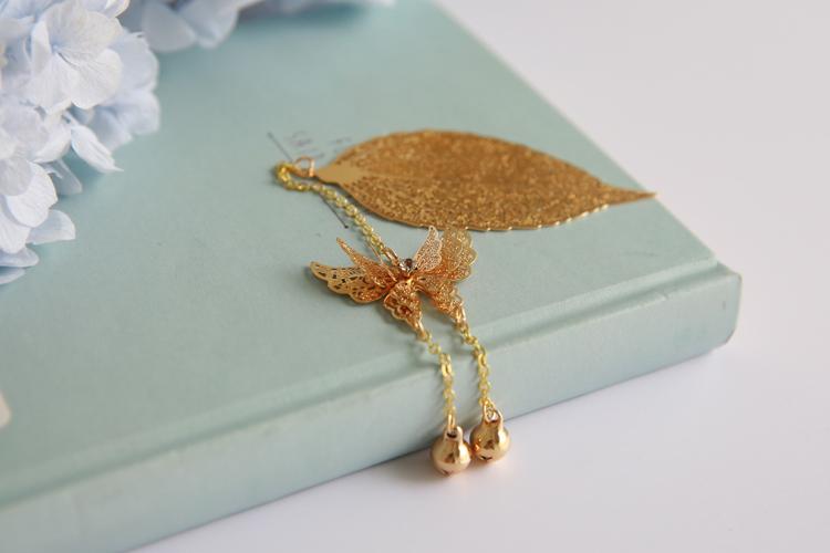 腾彩 国风金属镂空叶脉树叶 蝴蝶铃铛书签 创意生日毕业礼物j1 金色