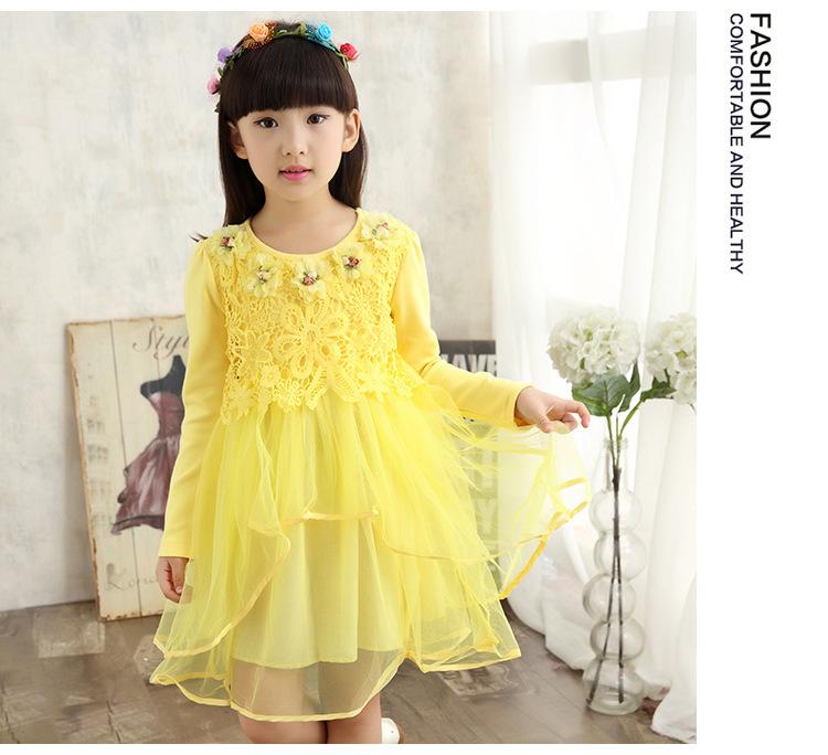 女童连衣裙春装儿童公主裙子中童女孩长袖花朵裙图片