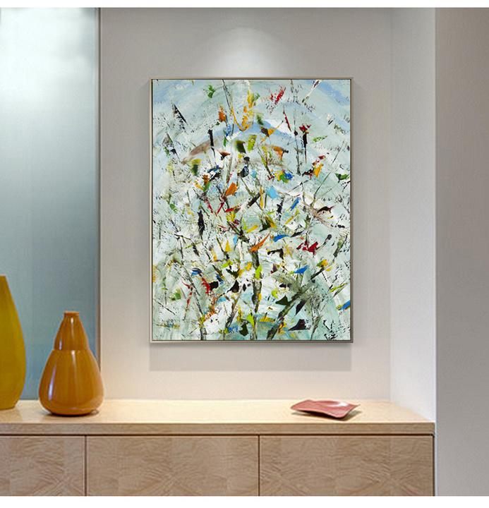 现代简约欧式抽象油画手绘有框装饰画玄关走廊壁画样板房餐厅挂画