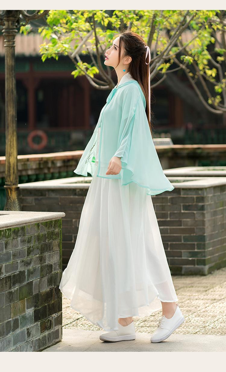 美姬儿2016年夏装新款中国风手绘汉服元素斗蓬披风防晒衣 浅蓝色 均码
