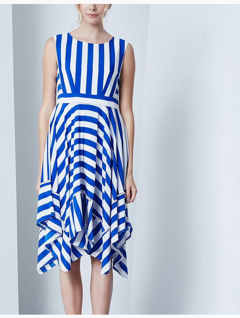 蓝白条纹裙