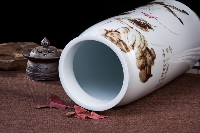 天喜瓷缘景德镇陶瓷器手绘花瓶 现代中式简约客厅电视