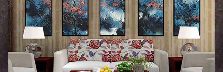 现代新中式客厅装饰画 手绘油画 酒店大堂挂画 售楼处样板房壁画 图片
