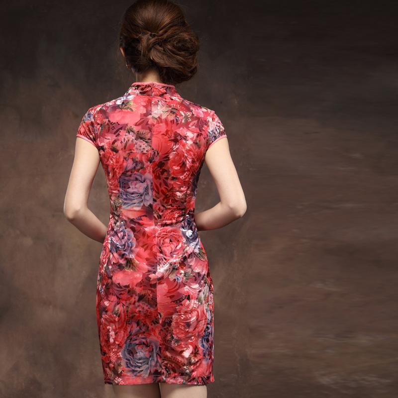 新娘结婚妈妈丝绒旗袍裙 喜庆红色大码修身短款中老年图片
