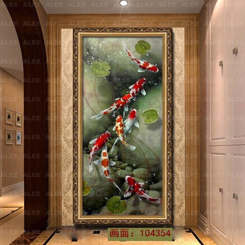 油画玄关九鱼图荷花美式手工手绘欧式竖版中式现代客厅装饰画壁画 104