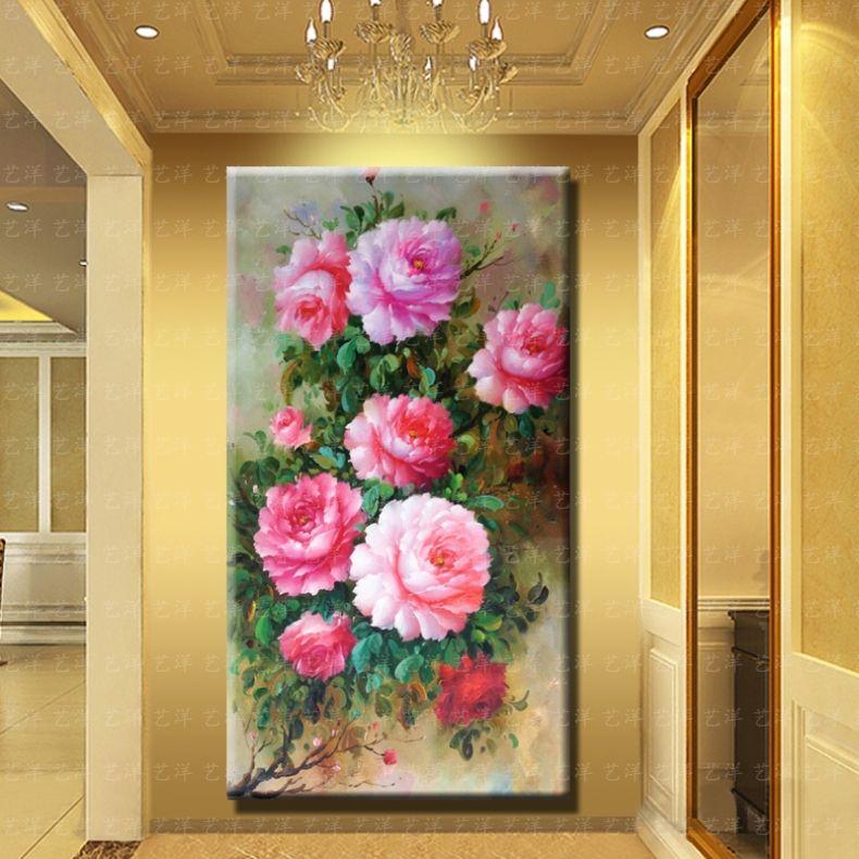 百合花纯手绘牡丹花开富贵欧式风景花卉油画客厅玄关沙发有框装饰图片