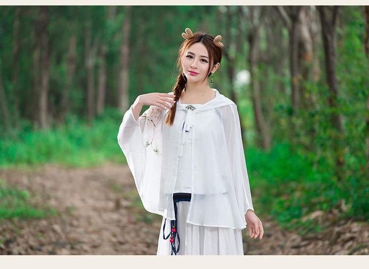 悍鹿2016中国风手绘汉服春夏新款短斗篷披风短外套 白色 均码 图片色