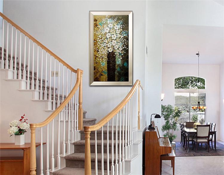手绘油画家居玄关走廊挂画现代装饰画竖版 有框壁画竖版发财树 如图