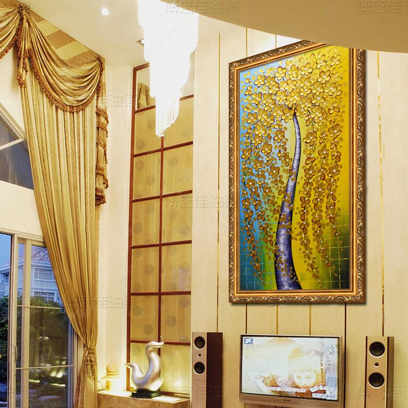 博艺佳【黄金发财树】家居装饰画手绘油画 欧式花卉油画 高端有框画