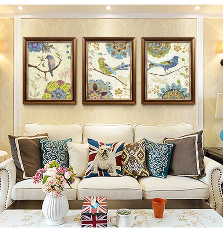 美式乡村风格客厅挂画 田园餐厅装饰画 沙发背景墙高档三联有框画 a图片