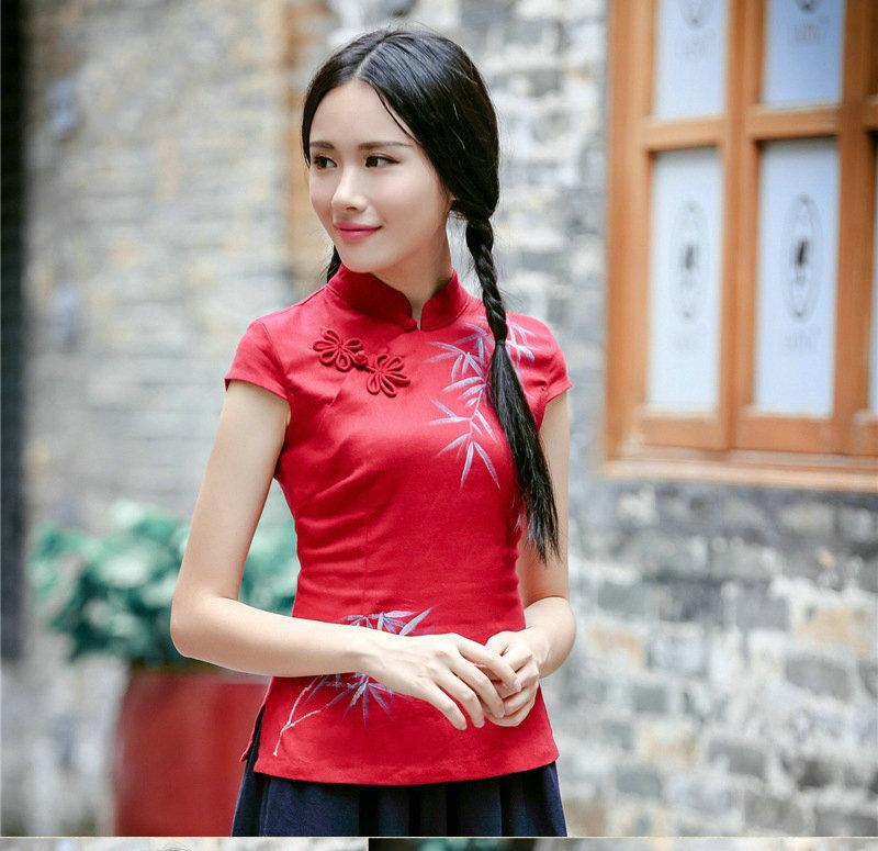 复古手工盘扣手绘亚麻旗袍上衣 改良日常红色中式民国唐装女6020fz241