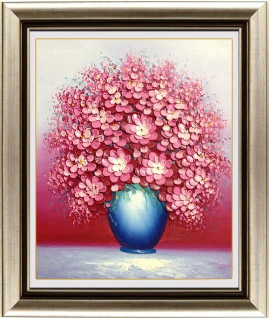 欧式古典花卉手绘油画 客厅餐厅装饰画餐厅挂画 厚颜料油彩画 蓝色 87