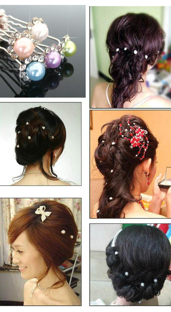 两对韩版发饰插针可爱u型夹新娘发插盘发器工具珍珠镶钻发簪 水钻簪子图片