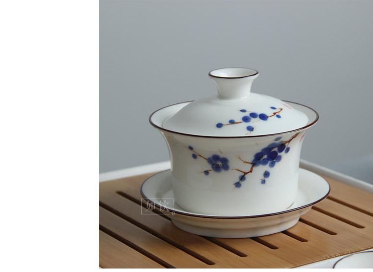 如饮 手绘陶瓷功夫茶具套装 白瓷盖碗茶具茶杯品茗杯茶壶茶海套组