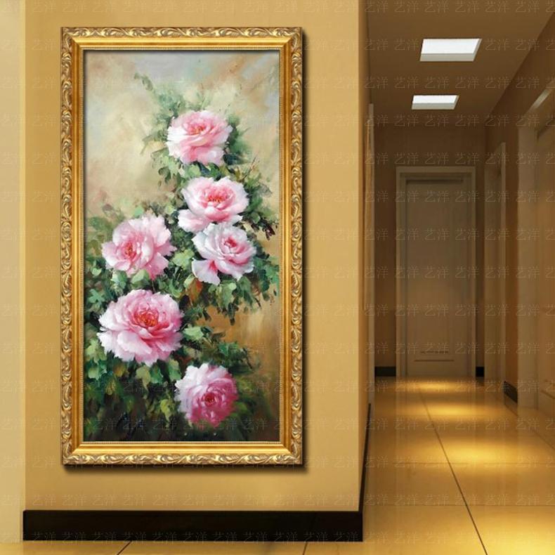 竖版玄关装饰画手绘油画牡丹花卉欧式客厅玄关过道现代壁挂画竖幅 10