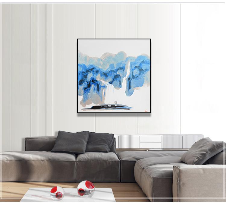 客厅手绘装饰画油画抽象画高档原创现代简约新中式风景酒店挂画02 蓝