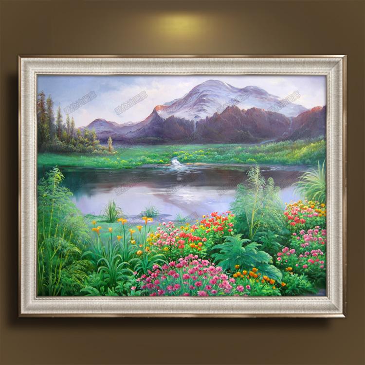 欧式田园纯手绘油画风景花园景客厅玄关沙发背景餐厅挂画有框画 银色