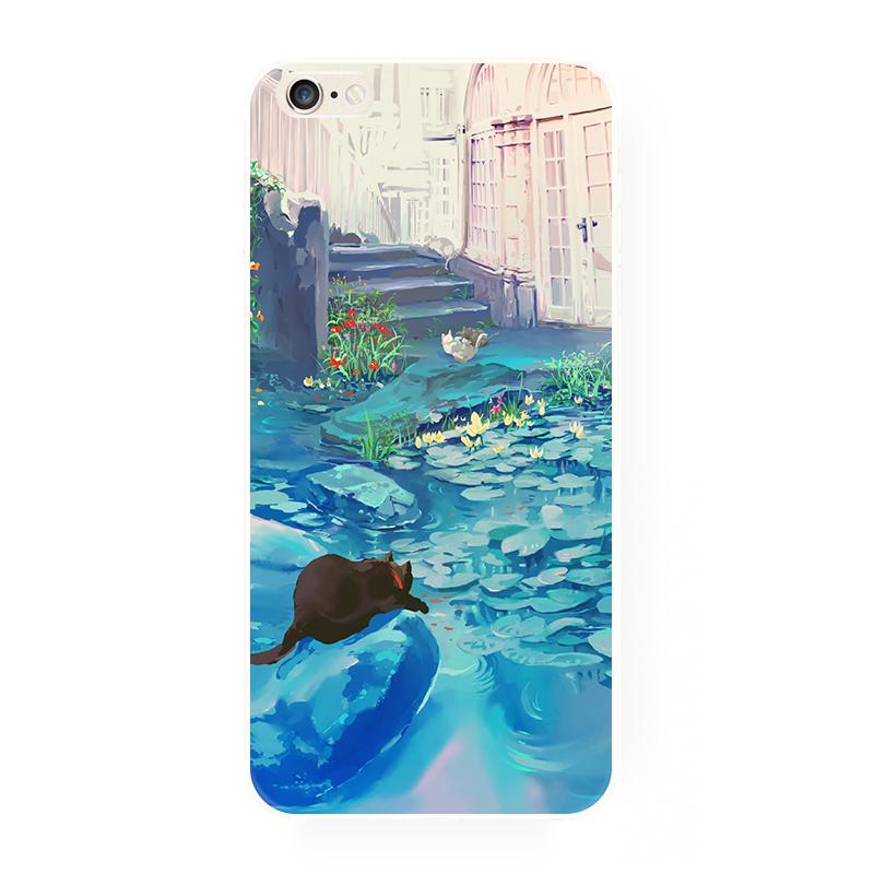 腾彩手绘日系可爱小猫咪 苹果i6s手机壳iphone5s6splus全包硅胶软f5