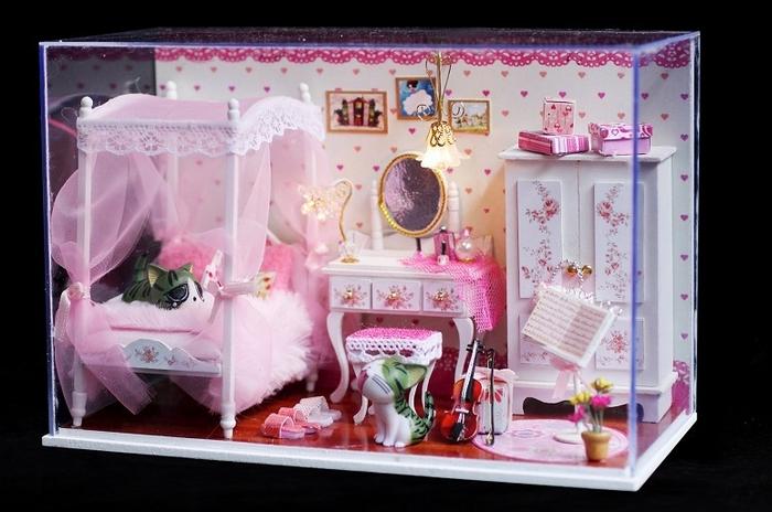 公主房手工 diy 小屋手工制作房子模型送女生生日礼物 粉爱粉爱套餐c