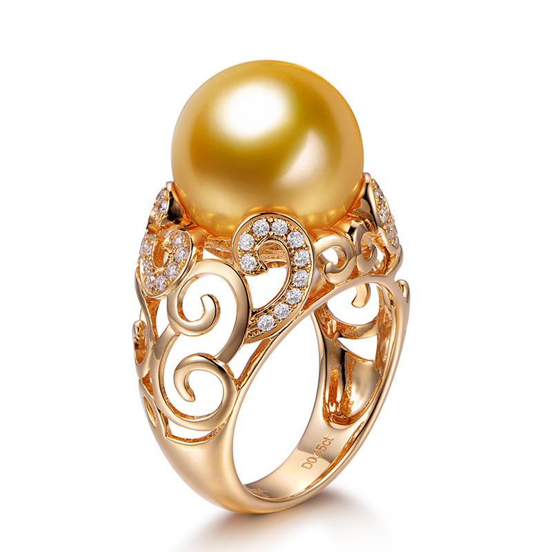 米润珠宝12mm南洋金珠戒指
