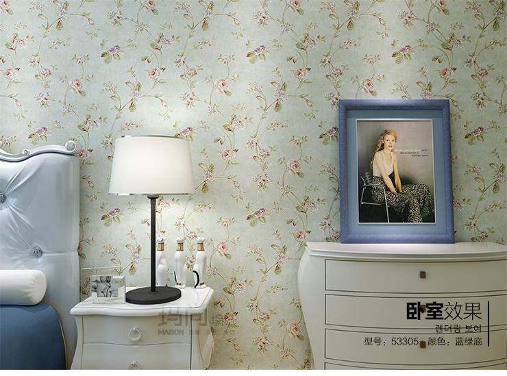 玛尚壁纸 美式乡村田园温馨卧室墙纸 无纺布客厅电视背景墙满铺 1553图片