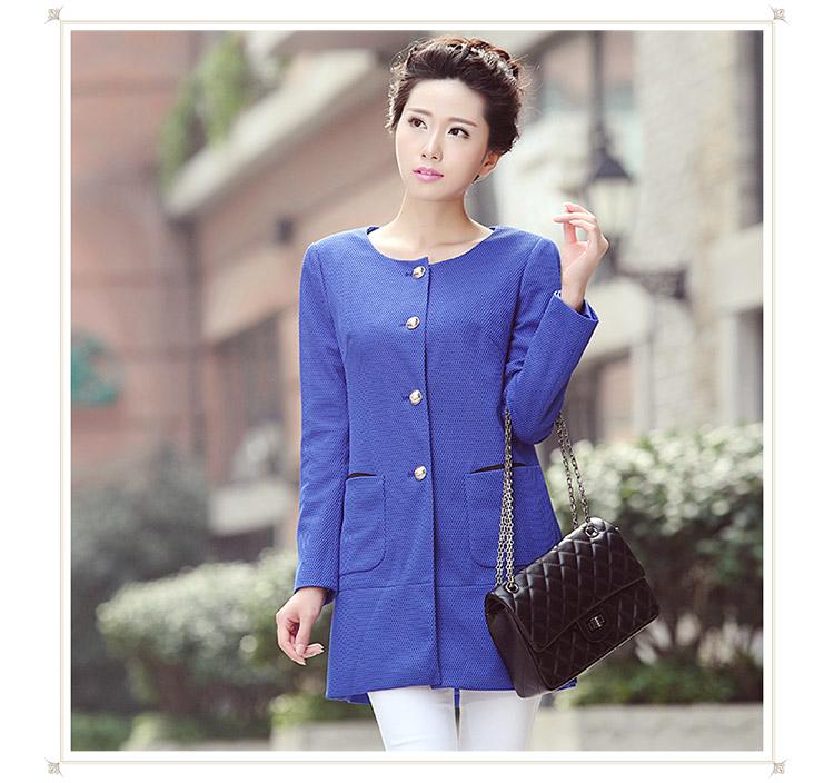 梵姿2014秋季新款韩版修身纯色网格中长款女装长袖风衣外套女vw43800