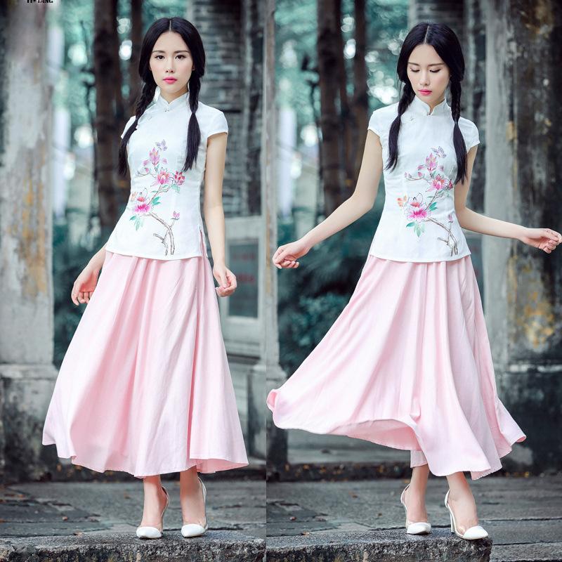 甜美少女手绘桃花旗袍上衣 复古汉服上装 中国风衬衫女款秋季6020fz