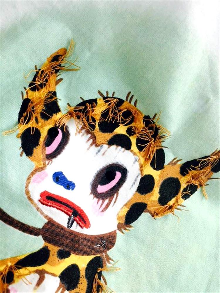 欧美手绘卡通豹纹小怪兽+蒙眼