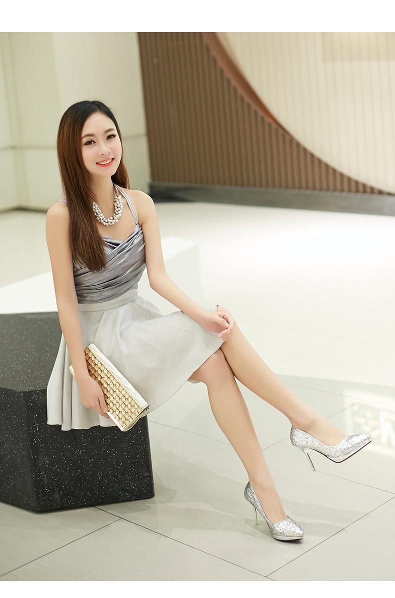 艾琦诗 高跟鞋女细跟尖头防水台金色银色模特鞋车模鞋