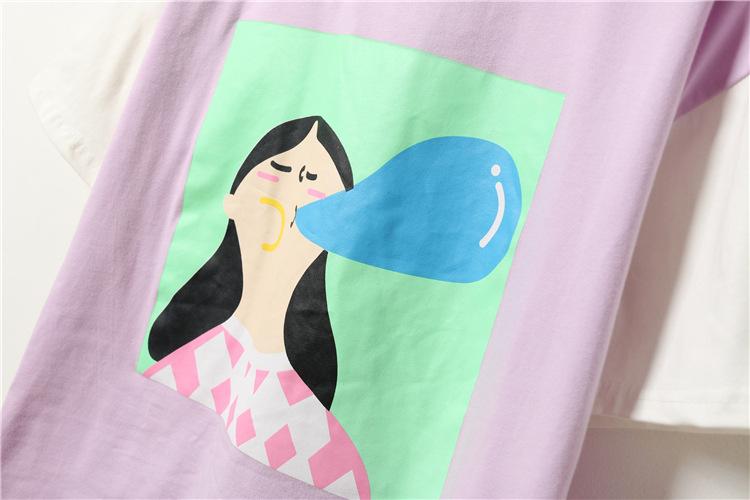 莫伊儿短袖t恤女韩国原宿风恶搞卡通人物吹泡泡男女