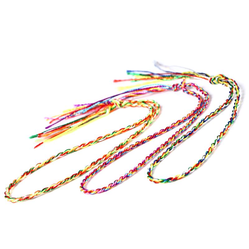 安乐因 端午节手工编织五彩手链手绳五色线脚链金刚结手绳材料男女