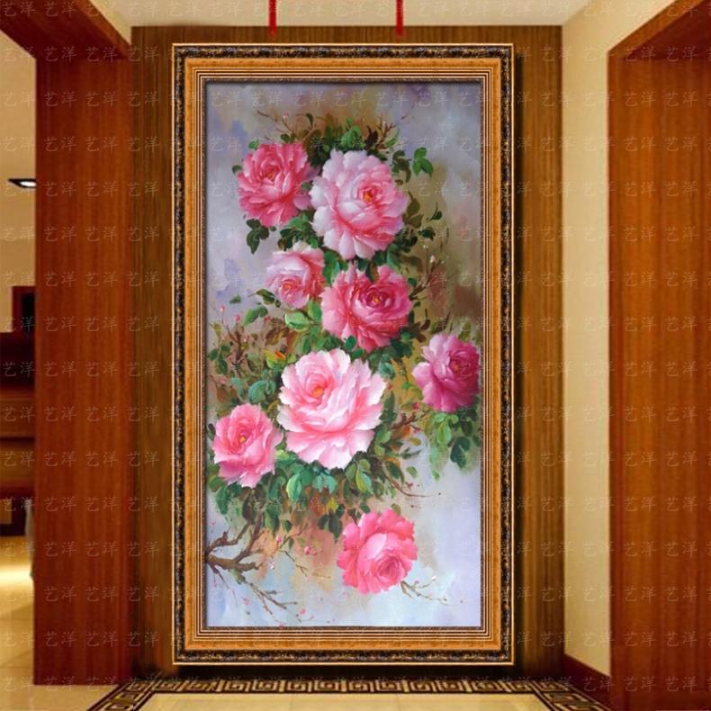横幅花开富贵牡丹油画纯手绘欧式客厅卧室装饰画牡丹花卉原创风水