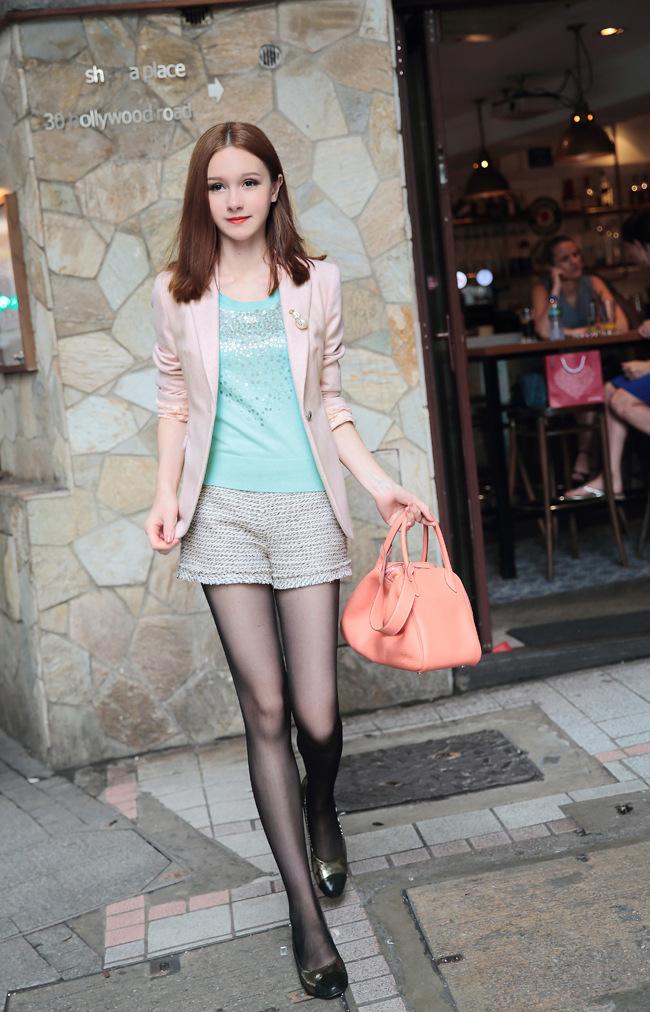 伊温莎6396# 小香款黑白混色短裤 图片色 m