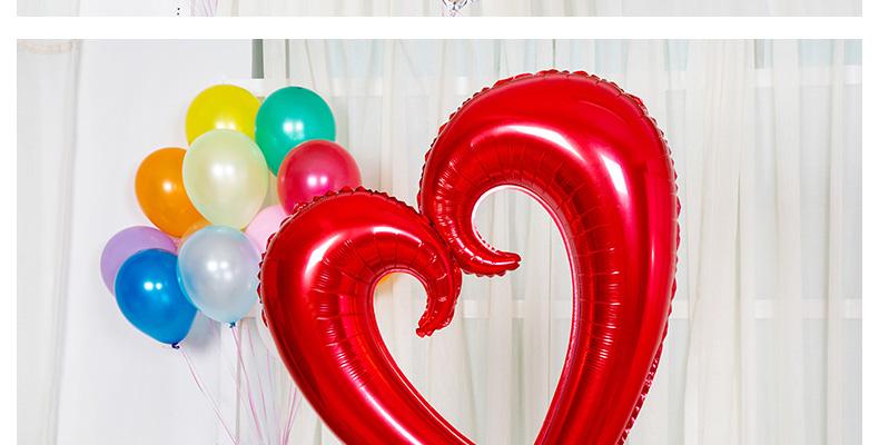 靓霜凝 42寸超大空心爱心铝箔气球勾勾心形铝膜气球 结婚庆婚房布置生