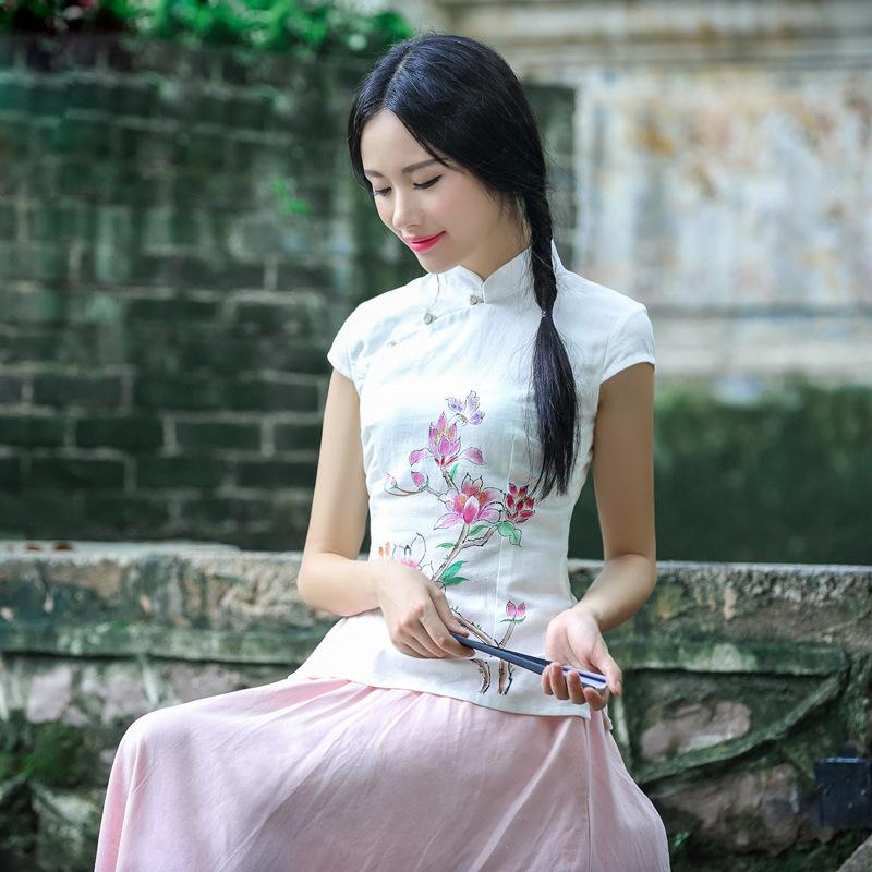 甜美少女手绘桃花旗袍上衣