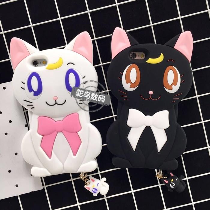 可爱女生卡通动漫露娜猫立体3d硅胶手机壳猫咪
