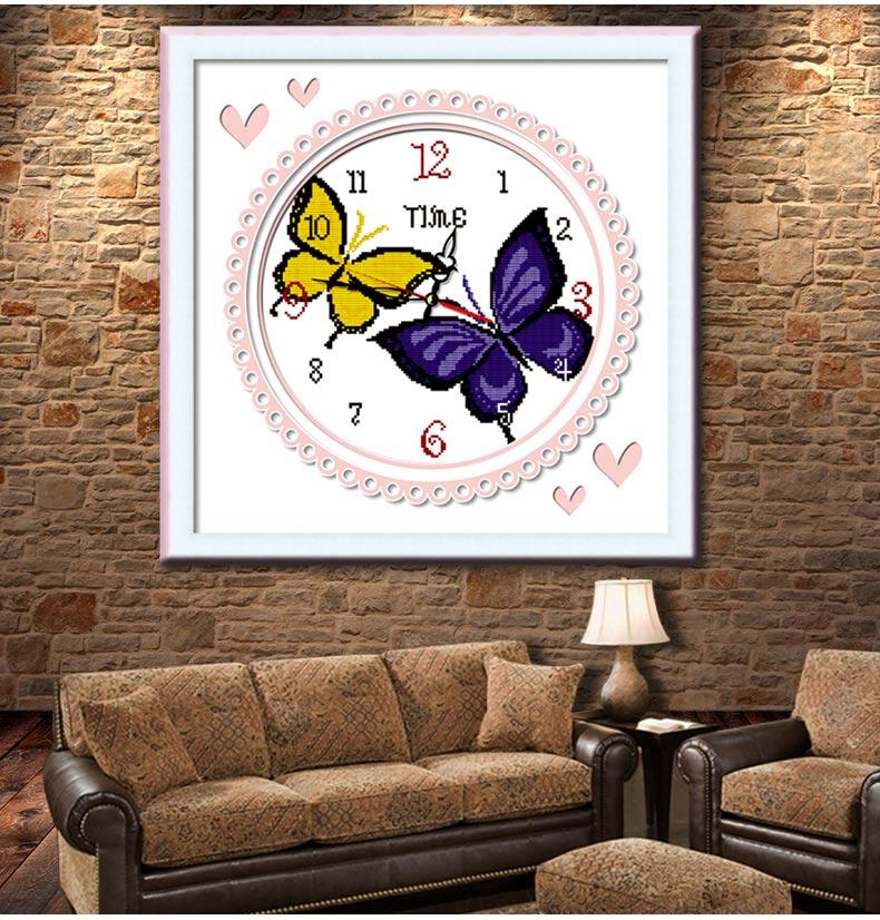 十字绣钟表蓝色蝴蝶动物图案时钟系列精准印花新款客厅卧室餐厅小幅
