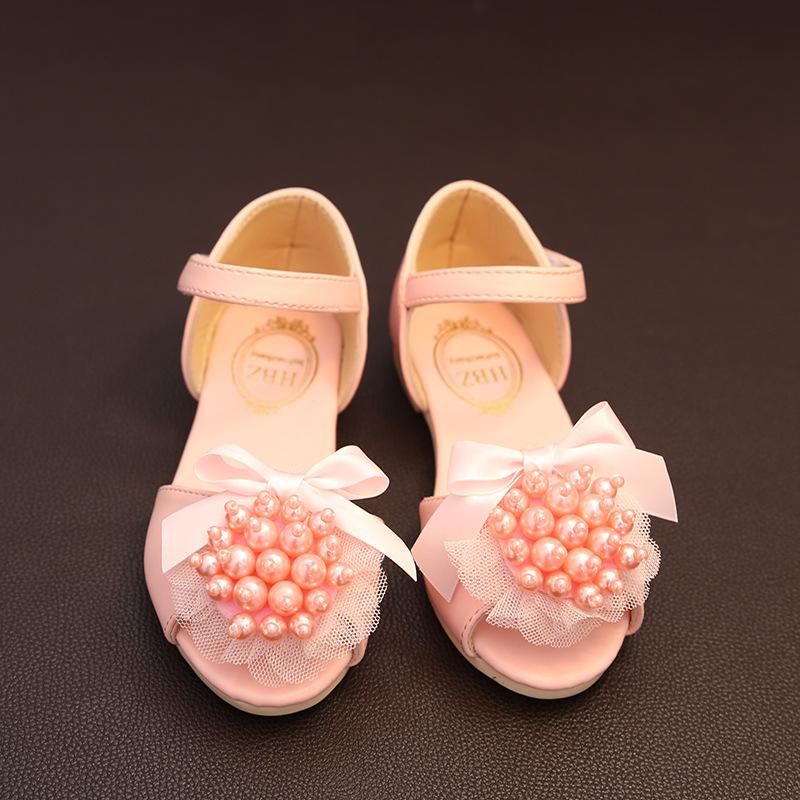 凉鞋2016儿童凉鞋新款 公主珍珠凉鞋 3-7岁女童夏季透气软底童鞋 粉