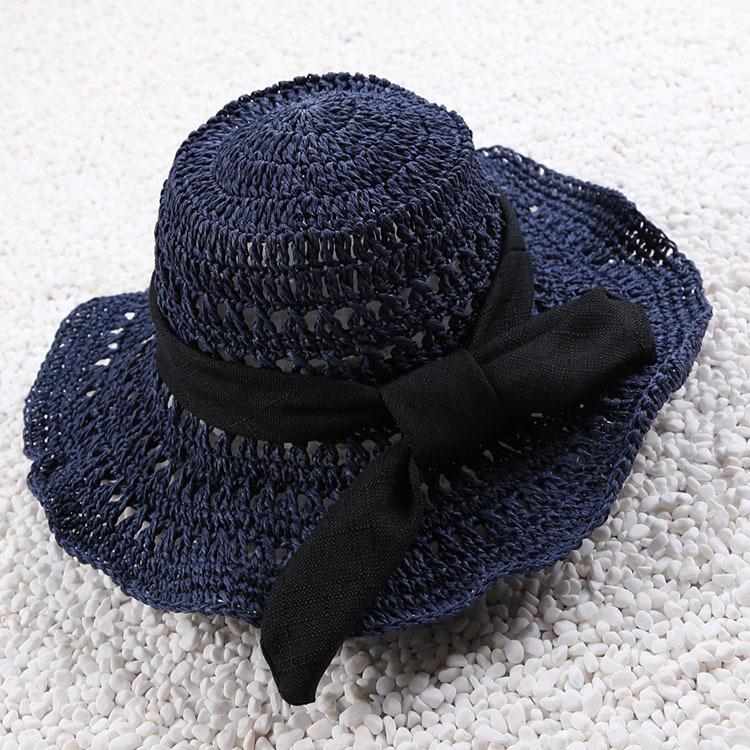 妃雅女装*女士钩针镂空大沿草帽 蝴蝶结飘带沙滩帽 遮阳帽 女士帽子